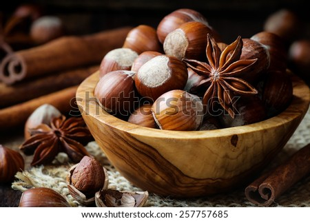 Hazelnuts with star anise and cinnamon sticks - Traditional winter holiday Christmas baking ingredients and spices - stock photo