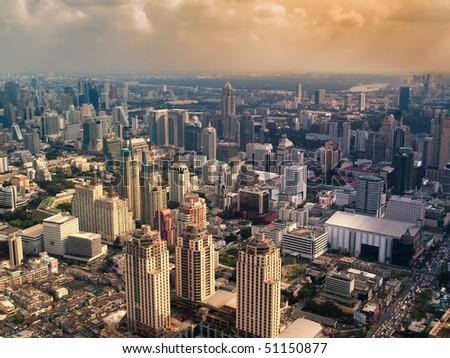 Hazy city in the sunset , Bangkok ,Thailand,  HDR image - stock photo