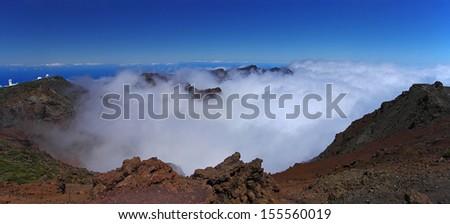 Hazy crater of La Caldera de Taburiente, La Palma, Canary Island - stock photo