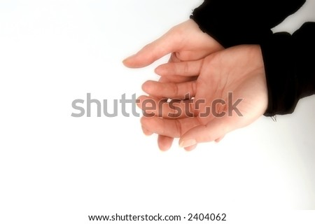 hazy female hands isolated on white, with shallow dof