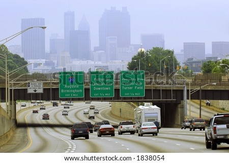 Hazy Labor Day weekend traffic in Atlanta. - stock photo