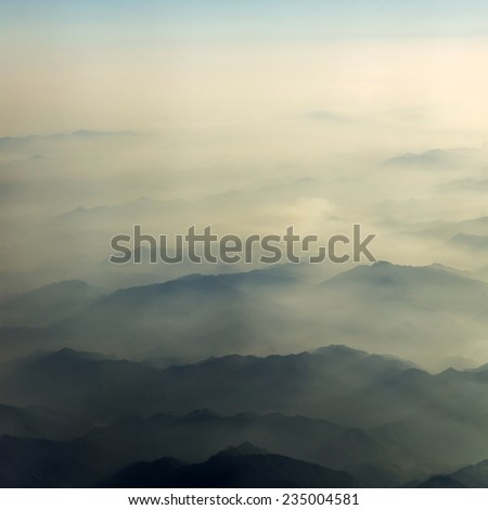 Hazy mountains background