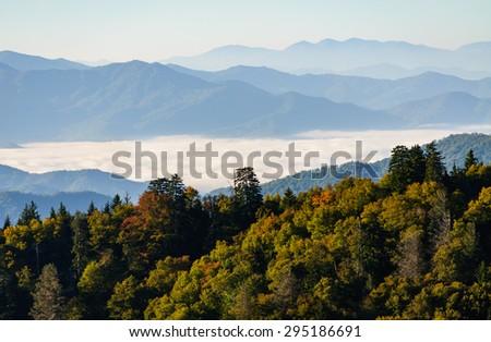 Hazy Overlook at Great Smoky Mountains - stock photo