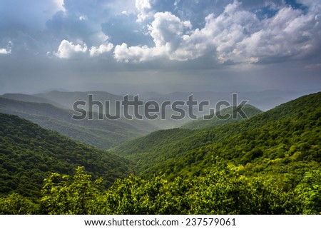 Hazy summer view of the Appalachian Mountains from the Blue Ridge Parkway in North Carolina. - stock photo