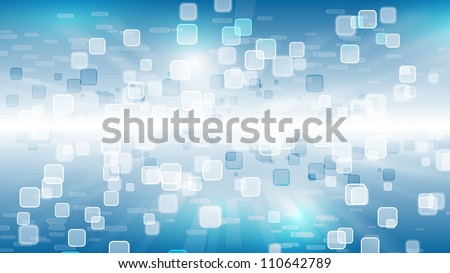 HD blue wallpaper with squares - stock photo