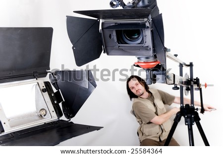 hd camcorder on crane - stock photo
