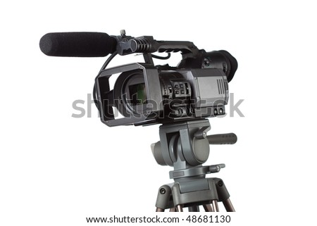 HD camcorder with microphone - stock photo