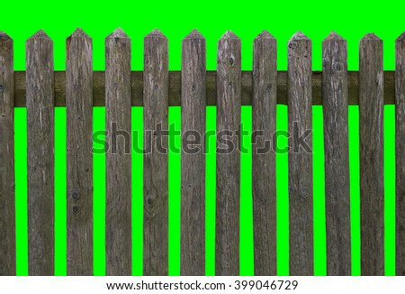 HD horizontal seamless wooden fence of weathered wood isolated on green background - stock photo