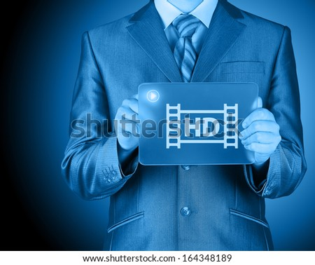 hd icon on futuristic glass tablet - stock photo