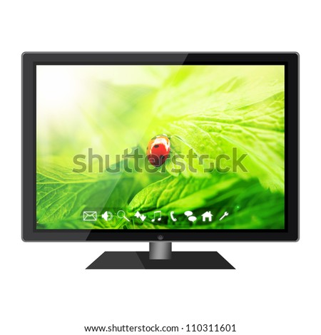 HD tv isolated on white background - stock photo