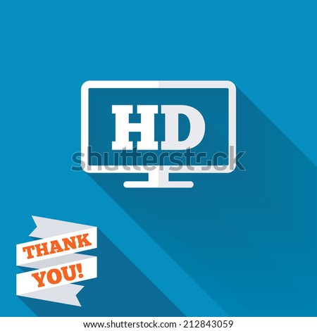 HD widescreen tv sign icon. High-definition symbol. White flat icon with long shadow. Paper ribbon label with Thank you text. - stock photo