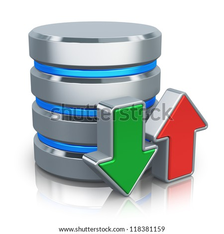 HDD business database, backup and cloud computing service concept: metal HDD icon with green download and red upload arrows isolated on white background with reflection effect