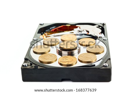 HDD without cower disk with israeli coins isolated on white background - stock photo