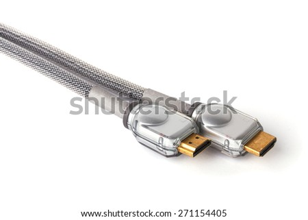 HDMI Cable on a White Background - stock photo