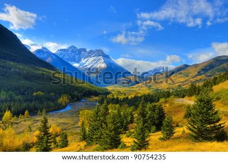 HDR Autumn season in Waterton National Park, Alberta, Canada - stock photo