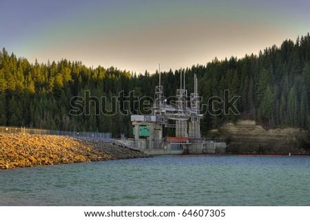 HDR Bears Paw Hydro Elctric Dam, Calgary, Alberta, Canada - stock photo