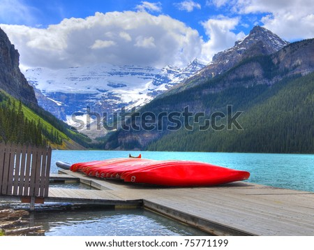 HDR Canoes on Lake Louise, Banff National Park, Alberta, Canada