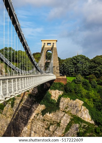 HDR Clifton Suspension Bridge spanning the Avon Gorge and River Avon designed by Brunel and completed in 1864 in Bristol, UK