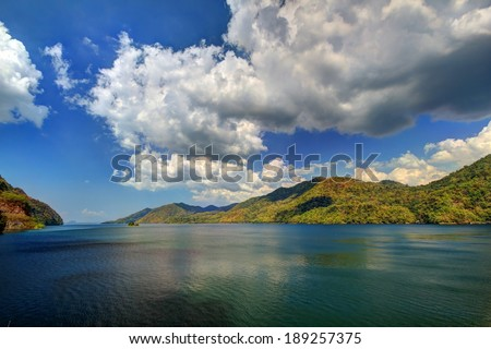 HDR colorful lake mountain cloud blue sky water - stock photo