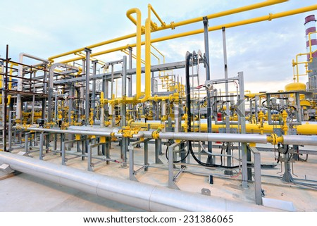 HDR Gas valves, pipes and instrumentation - stock photo