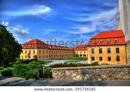 HDR (high dynamic range) image of the fortress in Bratislava castle - stock photo