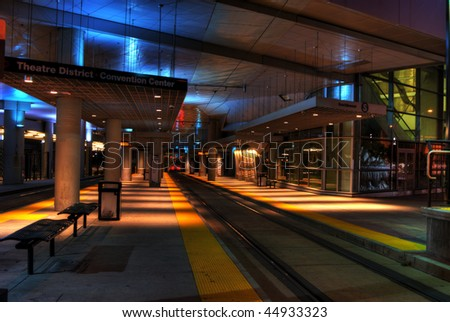 HDR - high dynamic range - photo of the downtown Denver light rail station in the theater district - stock photo