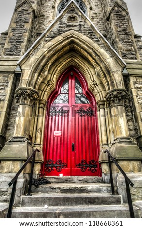 HDR Image-Entrance side of an Anglican church in Montreal - stock photo