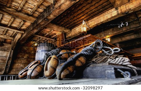 HDR image from antique nautical equipment on a ship - stock photo