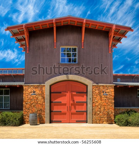 HDR Image of a Beautiful Winery Building in Shenandoah Valley, California. - stock photo