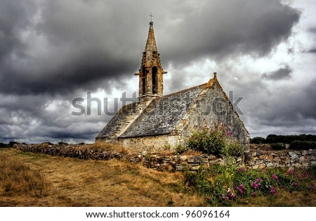 HDR image of a old chapel on the countryside in France