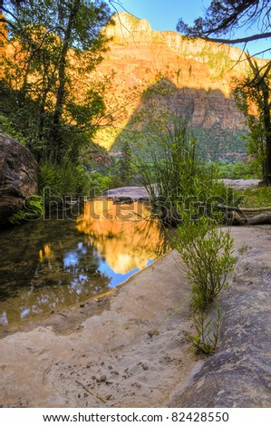 HDR image of an Emerald Pool in Zion National Park - stock photo