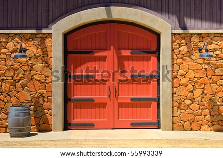 HDR Image of an Old Winery Door in California. - stock photo