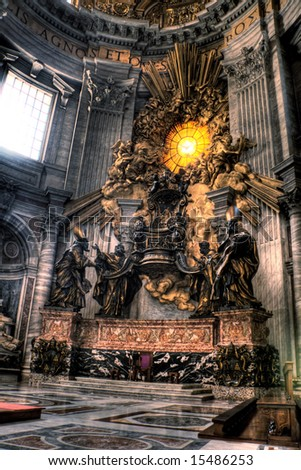 HDR image of Bernini's Cathedrapetri and Gloria inside St. Peters Basilica. Created by combining three individual exposures. - stock photo