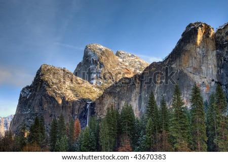 HDR Image of Bridalveil Falls in Winter at Yosemite National Park, California. - stock photo