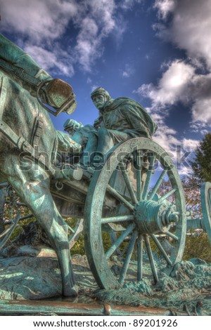 HDR image of Civil War Memorial Statue At The US Capitol Building In Washington DC - stock photo
