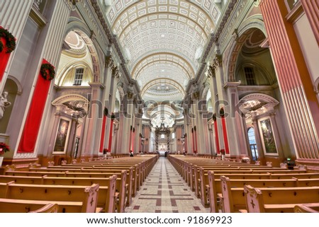 HDR image of Interior of the Basilica of Mary Queen of the World in Montreal - stock photo