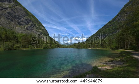 "HDR image of lake ""Bluntausee"" in Golling (Salzburg, Austria) on a bright summer day."
