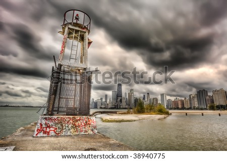 HDR image of navigation light and Chicago skyline - stock photo