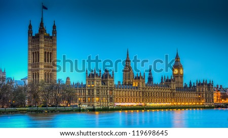 Hdr image of the British houses of parliament - stock photo
