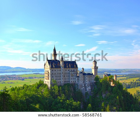 HDR image of the famous Neuschwanstein Castle in the Alps in Germany - stock photo