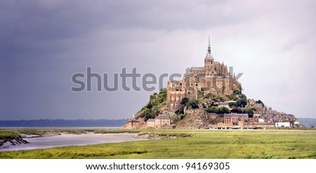 HDR image of the Mont Saint Michel in France - stock photo