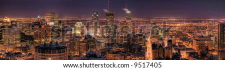 HDR Image of the Montreal Downtown Core at Night - stock photo