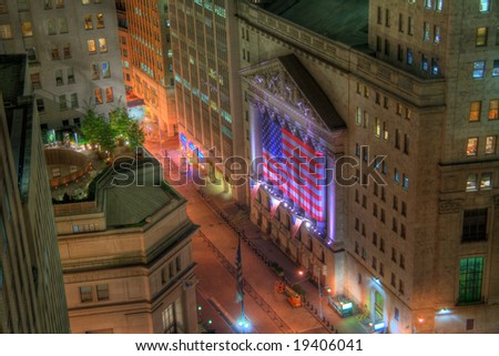 HDR image of the New York Stock Exchange at night. Created by combining three sequential exposures. - stock photo