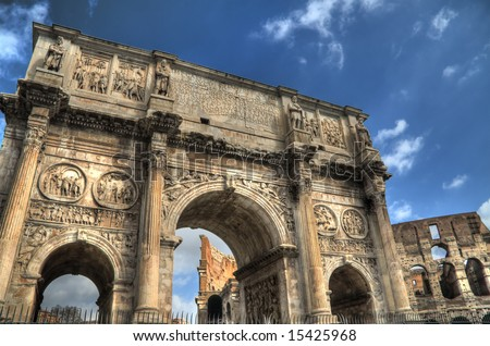 HDR image of the Roman Arch of Constantine and Colosseum. - stock photo