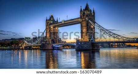 HDR image of Tower Bridge - stock photo