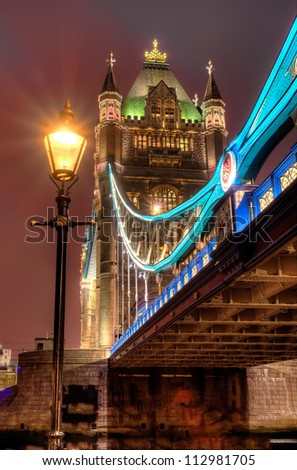 HDR image of Tower bridge at night