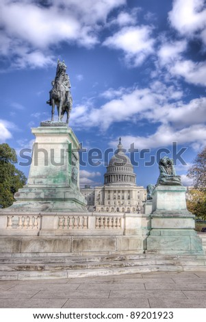 HDR image of Ulysses S. Grant Civil War Memorial Statue At The US Capitol Building In Washington DC