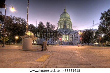 HDR image of Wisconsin State Capital building, Madison - stock photo
