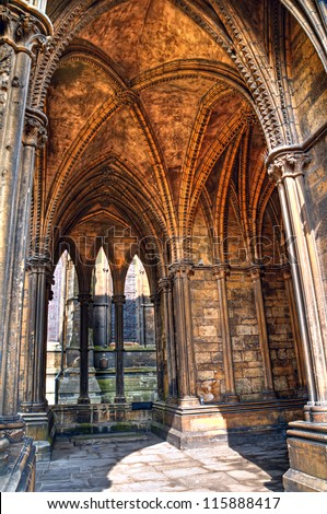 HDR Image Showcases The Gothic Architectural Details Of A Vaulted Ceiling In Lincoln Cathedral England