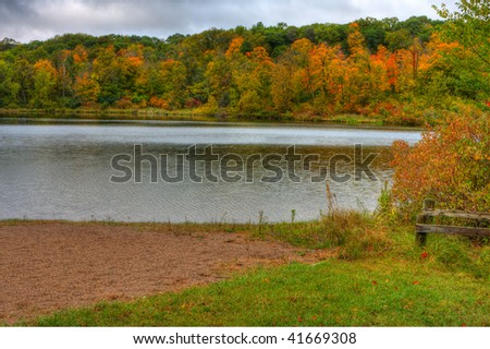 HDR landscape of Trees and Lake Alice in Wisconsin. - stock photo